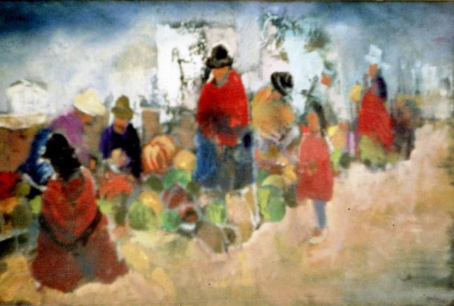 Cholitas en el mercado. Óleo,años 80.